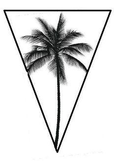 Black And White Palm Tree Tattoo Geometric Palm Tree Tattoo Bike Tattoos, Body Art Tattoos, Tattoo Drawings, New Tattoos, Small Tattoos, Tattoos For Guys, Cool Tattoos, Geometric Tattoo Tree, Geometric Tattoo Design