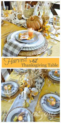 The tablescape I created for Thanksgiving this year was inspired by a recent ad by Pier 1 Imports (yes, again!) which included shades of o. Thanksgiving Table Settings, Thanksgiving Tablescapes, Small Pumpkins, White Pumpkins, Wheat Centerpieces, Square Glass Vase, White String Lights, Turkey Colors, Spring Design