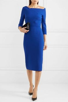 Cobalt-blue stretch-crepe Zip fastening through back 67% polyester, 29% viscose, 4% elastane; lining: 68% acetate, 32% polyester Dry clean Made in the UK