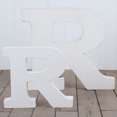 Metal Letter R  White - 31cm - These industrial tin letters are a great decorative piece to personalise your space.