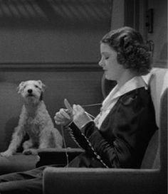 Myrna Loy (with Asta) in one of the Thin Man movies