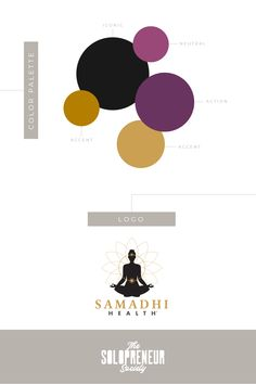 Colorful and modern brand style guide with #fonts, #colors, #logos, #submarks, #pattern design, and #icons for Samadhi Health. This red carpet-ready brand identity, designed by Dre Beltrami of The Solopreneur Society, includes everything they need to make their website and social media platforms  memorable, addictive and original.