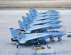 """A Lineup of USN Grumman F-14D Tomcats of VF-213 """"Black Lions"""" Fighter Squadron at Air Station Oceana."""