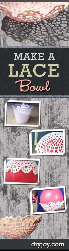76 Crafts To Make and Sell - Easy DIY Ideas for Cheap Things To Sell on Etsy, Online and for Craft Fairs. Make Money with These Homemade Crafts for Teens, Kids, Christmas, Summer, Mother's Day Gifts. |  How To Make A DIY Lace Bowl   |  diyjoy.com/crafts-to-make-and-sell