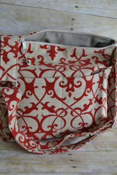 Camera Bag DSLR /  LARGE womens camera bag / Slr camera bag, Made in the USA, in stock,  Red Linen Damask  by Darby Mack