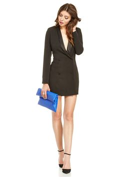 How To Wear Black At A Wedding #refinery29  http://www.refinery29.com/wear-black-to-a-wedding#slide11  Turn heads in a double-breasted mini blazer dress, and draw the eye with an electric-blue clutch.