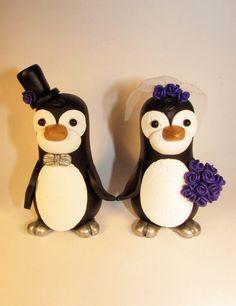 Custom Cake Topper, Penguin, Bird, Wedding Cake Topper, Animal Topper, Personalized
