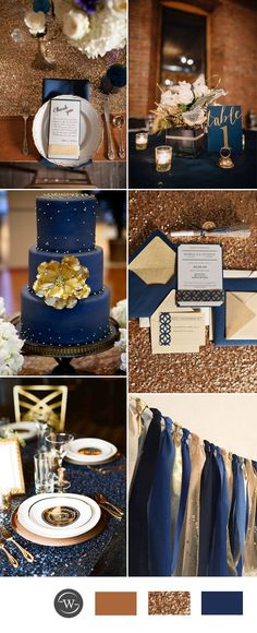 Gold and navy blue wedding color combination ideas blue wedding colors, color themes for wedding Wedding Color Combinations, Wedding Color Schemes, Color Combos, Wedding Themes, Wedding Decorations, Wedding Cakes, Wedding Ideas Blue, Trendy Wedding, Dream Wedding