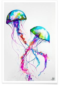 Colourful Jellyfish illustration for wall decor. Narasumas Art print by Marc Allante now on Juniqe.com | Art. Everywhere.