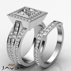 Princess Diamond Bridal Set Solid Pave Engagement Ring GIA G VS2 Platinum 3 3 Ct | eBay