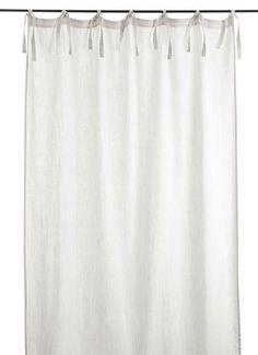 En-fil-dindienne - Rideaux en lin frangé - Blanc - 150x300 cm