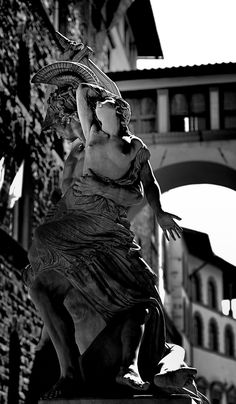 Florence - Statue in Piazza della Signoria.  On the back: the little bridge, used by Medicis family, for linking Palazzo Vecchio (the Town Hall) with Uffizzi Gallery (the ancient Court, now museum).