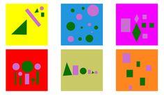 Simultaan contrast: Het lijkt alsof de kleuren van de figuren (paars en groen) een andere (lichter/donkerder/hogere en lagere verzadiging) kleur krijgen door de veranderende achtergrond.