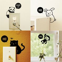 Black Cute Cat Switch Decal Vinyl Art Wall Sticker Wall Decals Switch decor #Unbranded #ArtsCraftsMissionStyle