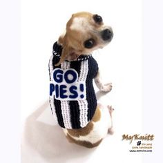 Magpies Team Australian Football League AFL Dog Jerseys Handmade Crocheted by Myknitt #football #AFL #DogJersey #Soccer #Magpies #Australia #AustraliaFootballLeague #AustraliaFootball