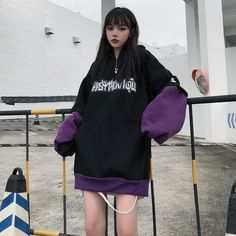 Best Kawaii - Letter Print Fake Two-Piece Inner Fleece Hoodie Black Hoodie Outfit, Oversized Hoodie Outfit, Cargo Pants Outfit, Edgy Outfits, Retro Outfits, Korean Outfits, Cute Outfits, Fashion Outfits, Fashion Styles