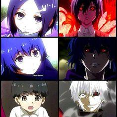 This is what my life has done to me. Kaneki, Touka, and Ayato - Tokyo Ghoul Manga Anime, Fanarts Anime, Anime Art, Otaku Anime, Ayato Kirishima, Dark Fantasy, Tsurezure Children, Yuri!!! On Ice, Tokyo Ghoul