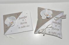 ensemble coussin mariage+ livre d'or mariage porte-alliances personnalisé brodé  strass avec orchidée