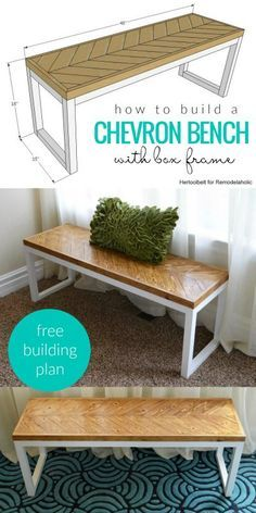 How To Build A Chevron Bench With Box Frame (inspired by West Elm) | Free building plan from Hertoolbelt on Remodelaholic.com