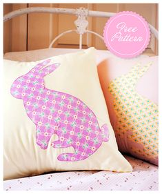 bunny pillow tutorial and free bunny pattern - could sew this onto a tote?