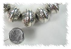 Handmade Sterling Silver Graduated Navajo Beads by Marie Yazzie Navajo Jewelry, Native American Beading, Handmade Sterling Silver, Silver Beads, Pearls, Floral, Native American Beadwork, Beads, Flowers