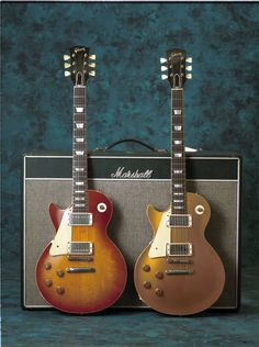 The Stroup Burst - 1960 Les Paul Standard - with a 1957 Goldtop and Marshall Bluesbreaker combo. Photo by Jeff Vietch.
