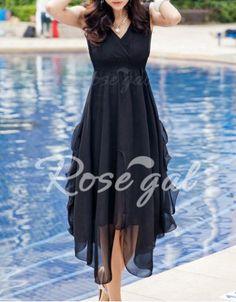 Asymmetrical Design Wide Hem Solid Color Sleeveless V-Neck Women's Dress Chiffon Dresses | RoseGal.com Mobile