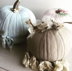 Celebrating the first day of fall with Shabby Chic Pumpkins.