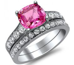 2.42ct Pink Sapphire Cushion Cut Diamond Engagement Ring Bridal Set 14k White Gold