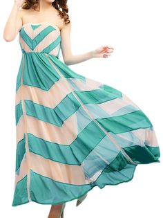 Off Shoulder Stripped Bohemian Chiffon Long Fitted Maxi Dress Beach Dress For Ladies on buytrends.com