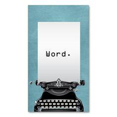 """""""Word."""" Vintage Typewriter Turquoise Writer Business Card"""