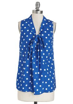South Florida Spree Top in Blue Dots. Take your wardrobe on a vivacious vacation with this eye-catching sleeveless top! #blue #modcloth