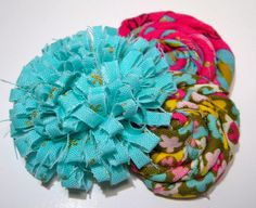 Teal and Hot Pink Shabby Chic Cluster