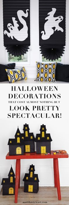 Halloween doesn't have to weigh down your wallet -- these decorations come together with easy-to-find, inexpensive materials that you might even have lying around the house.