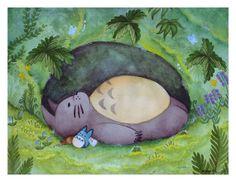 My Neighbor Totoro Napping Watercolor Art Print by KateDolamore, $18.00