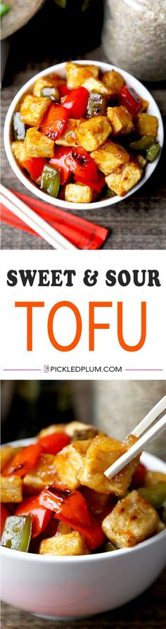 Sweet and Sour Tofu - This sweet and sour tofu recipe is a quick and tasty dinner option that's much better than takeout – and is ready in just 20 minutes! Recipe, vegetarian, tofu, Chinese | pickledplum.com