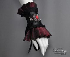 Gothic Victorian Cuff Bracelet with rose cameo, Dark Red Fashion, Elegant Goth Wedding Jewelry, Lolita Red Accessories https://www.etsy.com/shop/Vilindery
