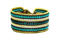 Malachite & Recon. Turquoise 3 CM Cuff/Bracelet