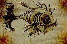 pencil and ink sketch and photoshop Deadly Piranha Mermaid Sketch, Mermaid Drawings, Fish Drawings, Water Sketch, Fish Sketch, Tim Burton Kunst, Tim Burton Art, Angler Fish Drawing, Fish Bone Tattoo