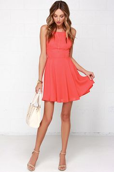 Chic Orange Dress - Backless Dress - Fit and Flare Dress - $47.00