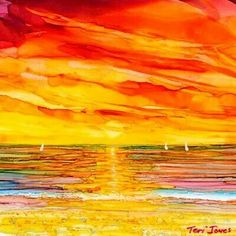 Teri Jones # Red hot alcohol ink!