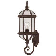 Boxwood Outdoor Wall Lantern I in Rustic Bronze
