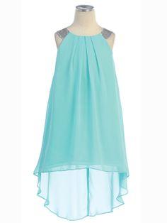 High-Low Hem Chiffon Dress - Flower Girl Dresses