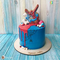 Cake Pops Mickey Mouse Cupcake Ideas For 2019 Spiderman Birthday Cake, 4th Birthday Cakes, Novelty Birthday Cakes, Superhero Cake, Cake Pops Mickey Mouse, Marvel Cake, Cake Recipes For Kids, Diy Cake, Fondant Cakes