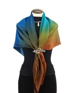 Jewel Tones, Hand Painted Silk Scarf and scarf pin