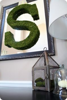 DIY mossy vignette {how-to} I have that S in my bathroom... Had it above the fireplace at our wedding reception