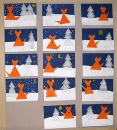 Winter Art Projects, Winter Crafts For Kids, Winter Kids, Art For Kids, Christmas Card Crafts, Christmas Art, Symmetry Art, Woodland Art, Art Classroom