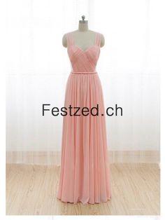 A-Linie Träger Lang Rosa Chiffon Abendkleider