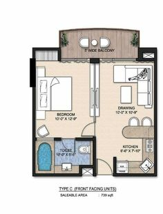 Like this but the bedroom closet is really small. Tiny House Cabin, Small House Plans, House Floor Plans, Apartment Floor Plans, One Bedroom Apartment, Small Floor Plans, Studio Apartment Layout, Casas Containers, Appartement Design