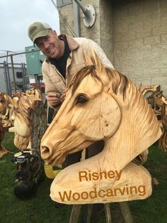 Horse head chainsaw sculpture